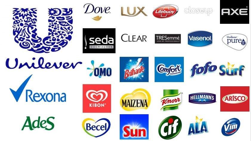 Algumas das marcas da Unilever.